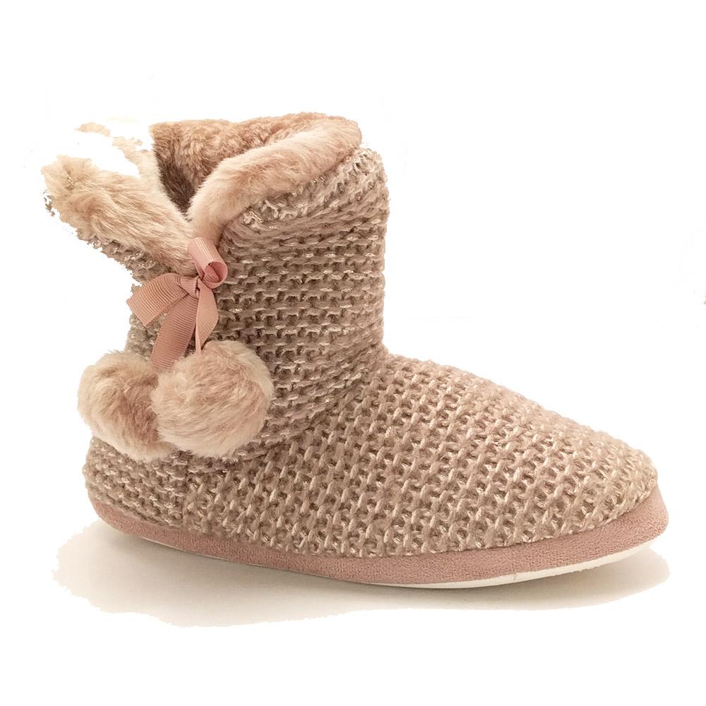 Roze Super Cracks Pantoffels Knitted Pompoms