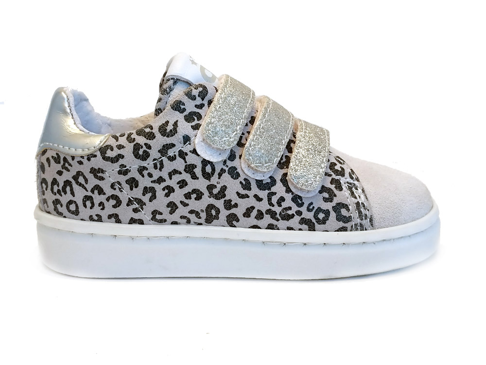 Witte Pinocchio Klittenbandschoenen Leopard