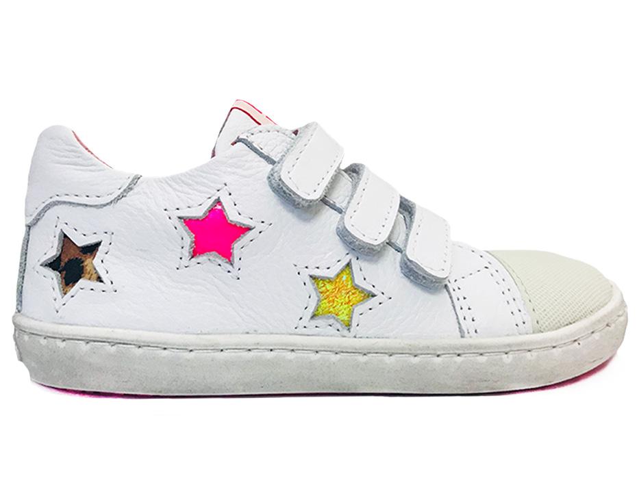 Witte ShoesMe Veterschoenen Sterren