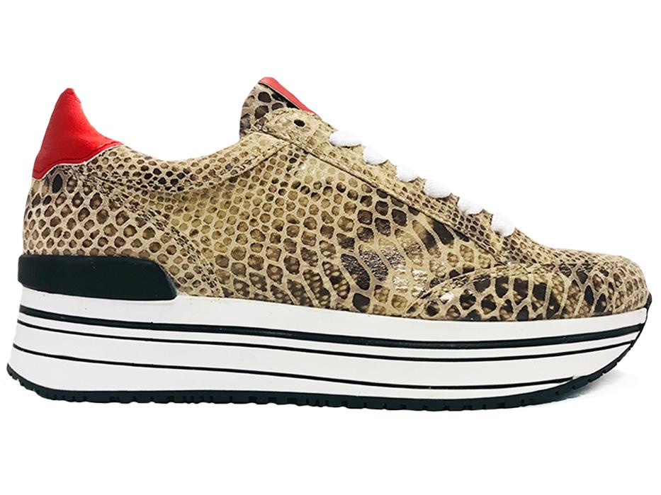 Beige SPM Sneakers Leanimal Runner Suede Snake