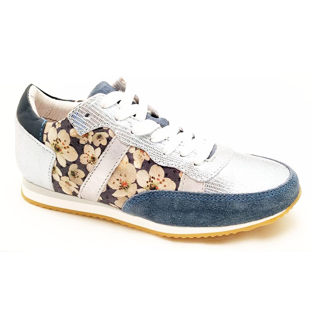 Blauwe Gattino Veterschoenen bloemenprint