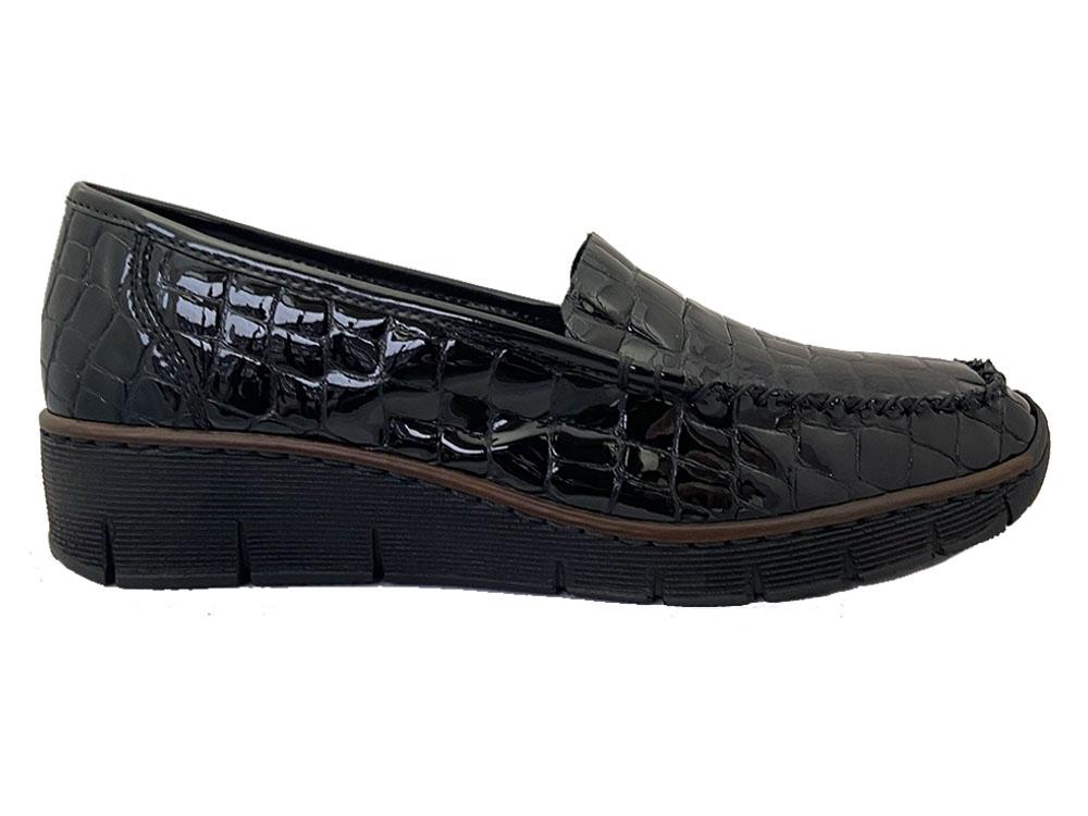 Zwarte Rieker Instappers Lak Croco