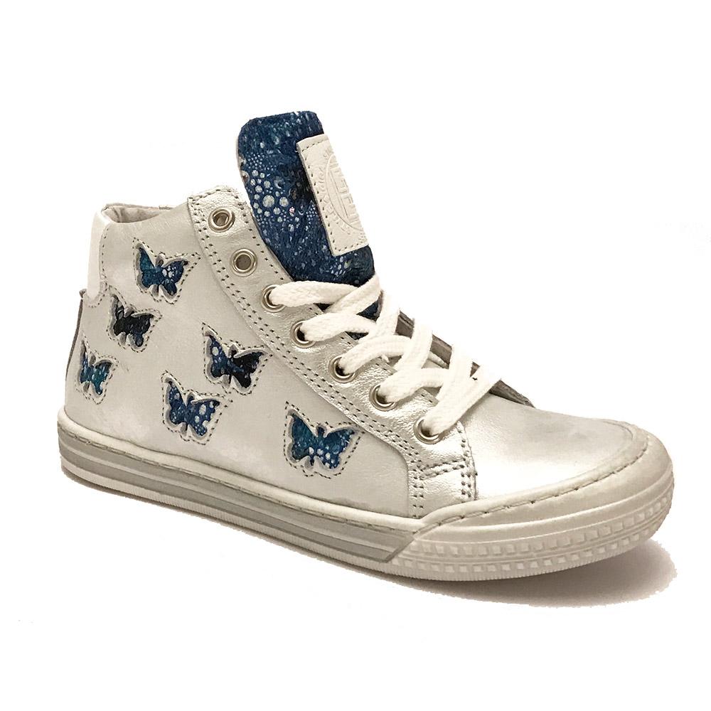 Zilveren Giga Veterschoenen Blauwe Vlinders