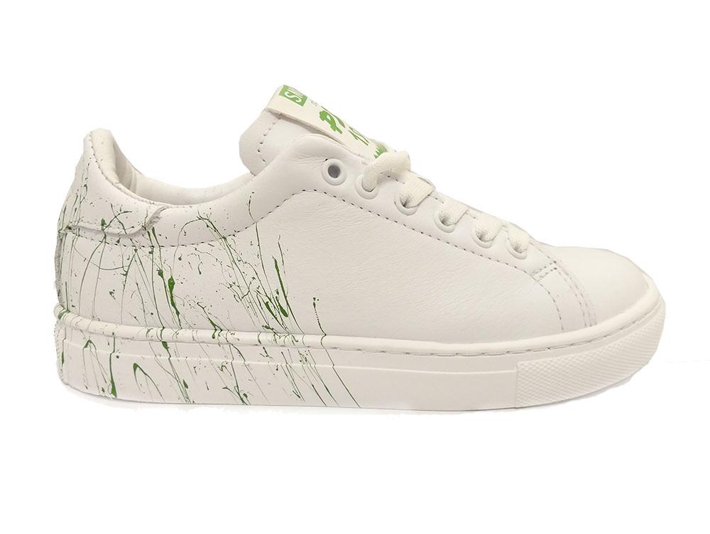 Witte Piedro Veterschoenen Wijdte 3,5 Groene Print