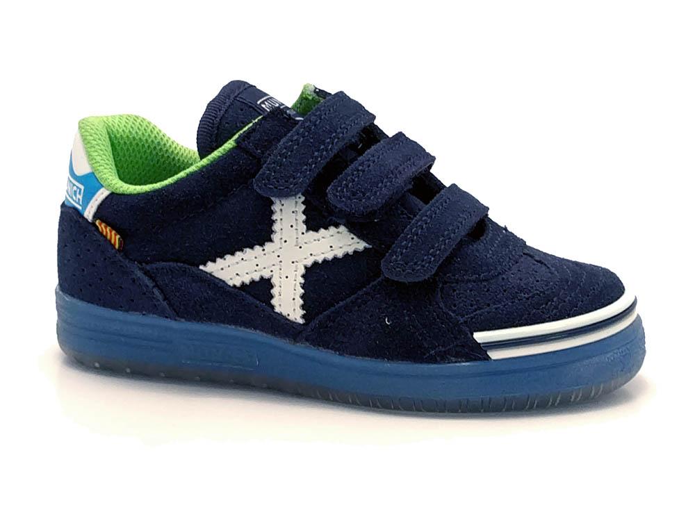 Blauwe Munich Sneakers G3 Klittenband Kids