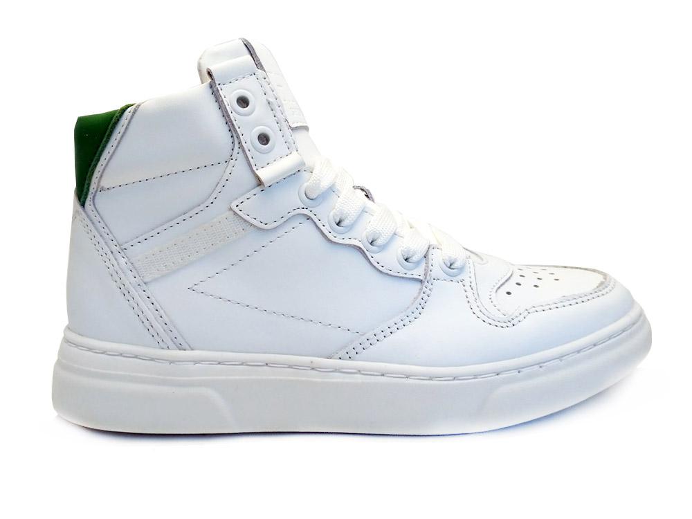 Witte Hip Veterschoenen White Green Combi