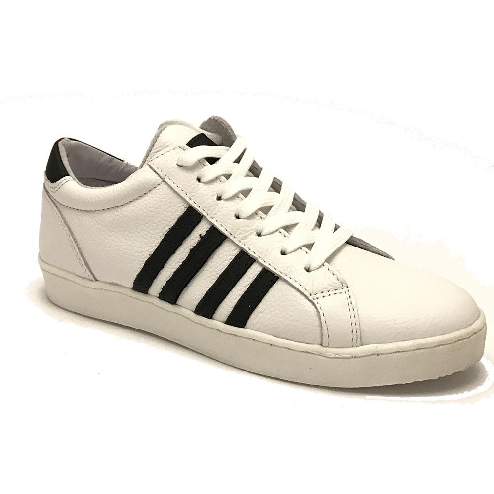 Witte Gattino Sneakers Zwarte Strepen
