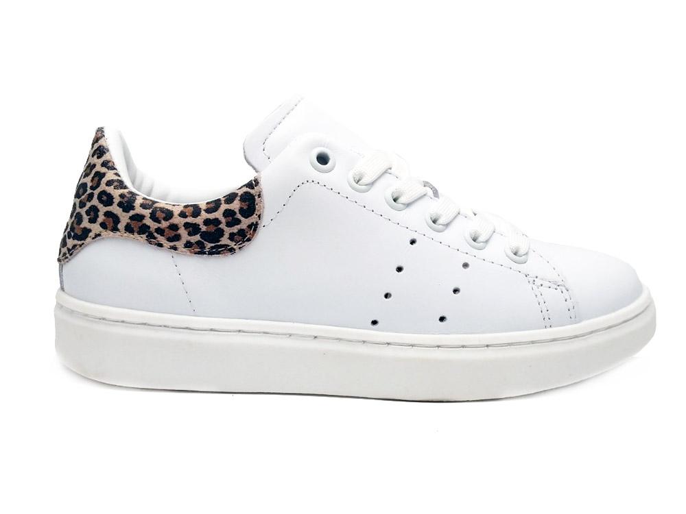 Witte Gattino Veterschoenen Leopard Glitter