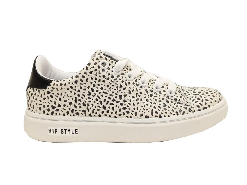 Witte Hip Sneakers Giraf Lak