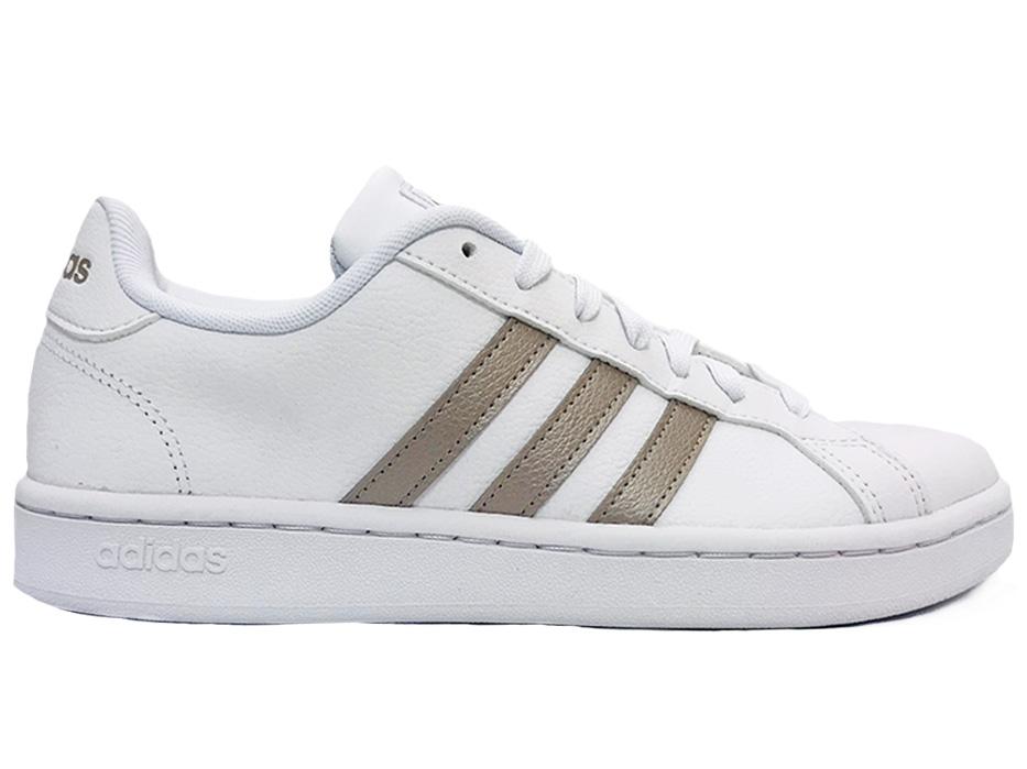 Image of Witte adidas Sneakers Grand Court Zilveren Strepen