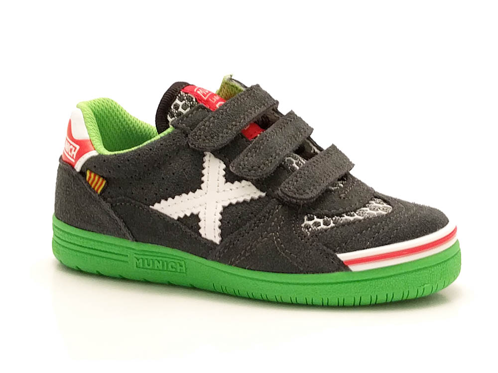 Grijze Munich Sneakers G3 Klittenband Kids