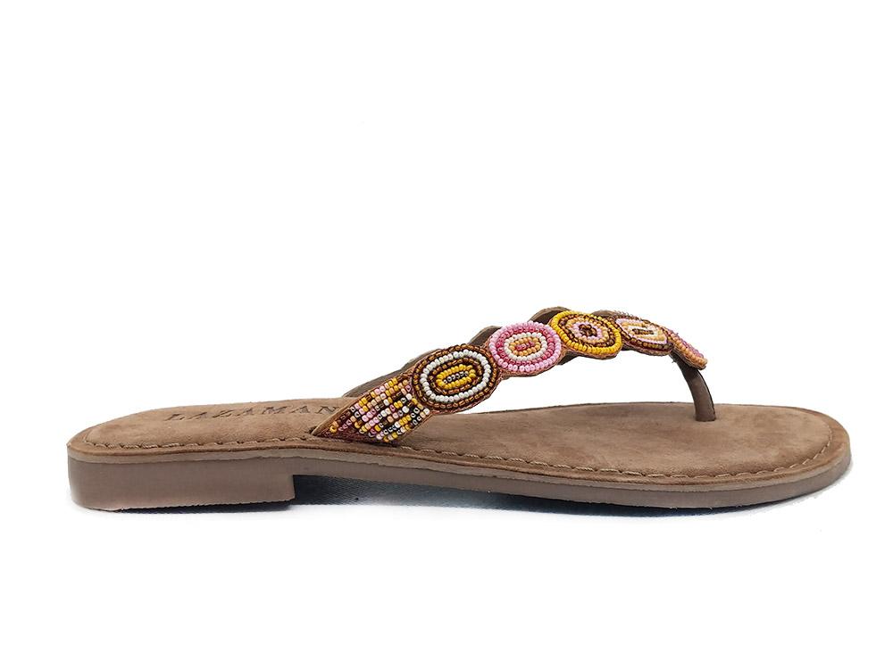 Taupe Lazamani Slippers Beads