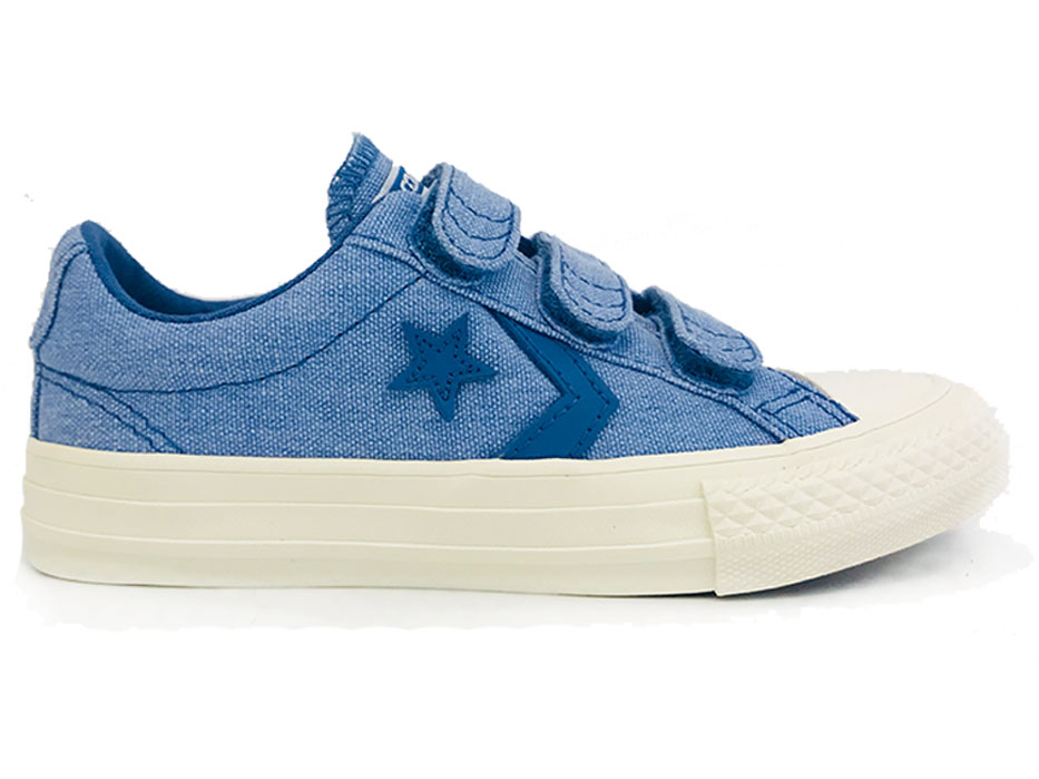 145c8d2d64e Lage Converse Star Player Sneakers Kids Blue - Verest Schoenen