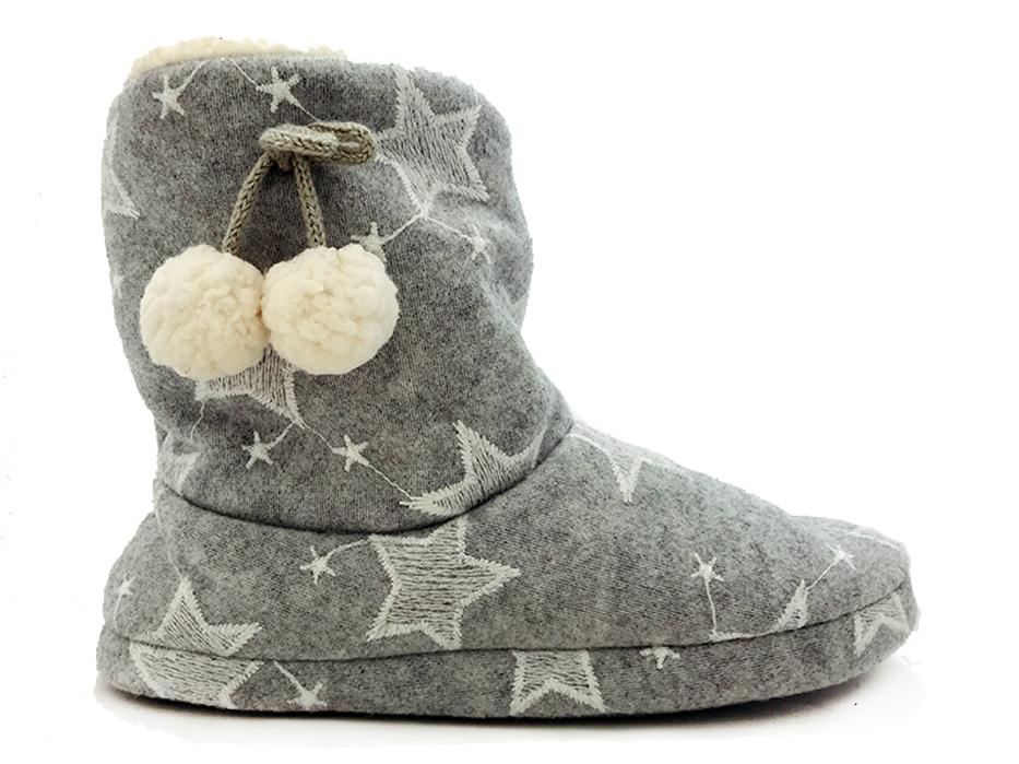 Grijze Super Cracks Pantoffels Bootee Stars