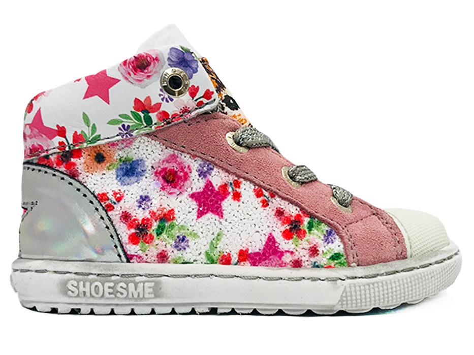 Wiite ShoesMe Veterschoenen Bloemen Extreme Flex