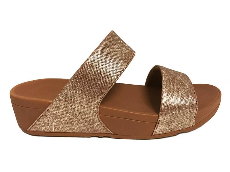 K70-582 FitFlop™ Fitflop™ Shimmy™ Slide Sandals Tan Foil Print
