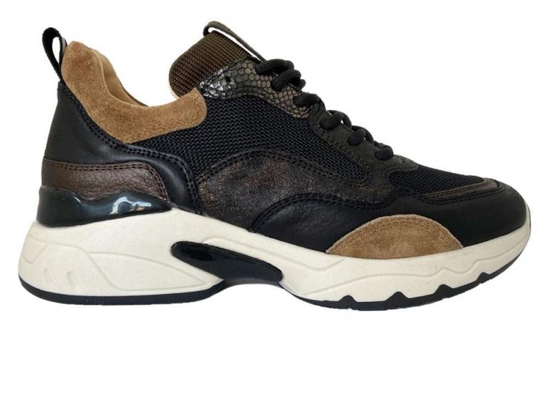 57115-Bronzo Via Vai Zwarte Via Vai Sneakers Silba Combi Bronzo