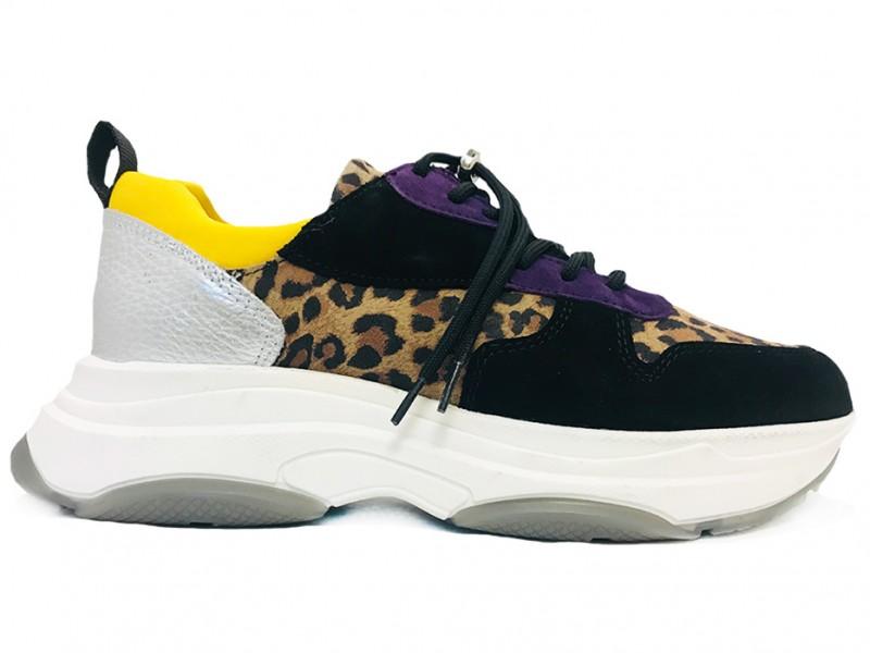 45.800-Nero-Leopard Lazamani Zwarte Lazamani Sneakers Leopard