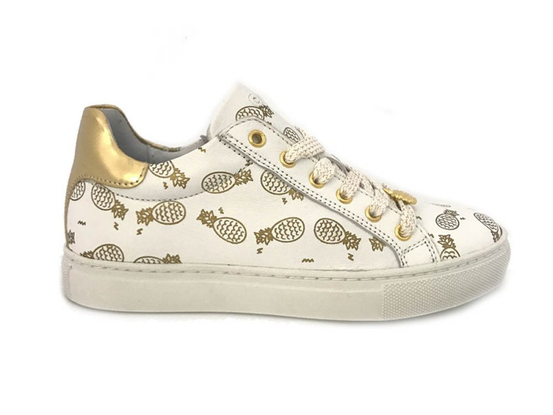 9024-A11J53 Giga Witte Giga Sneakers Gouden Print