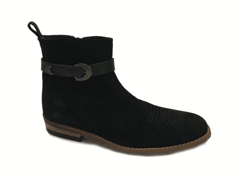 CL-9201-Negro Clic Zwarte Clic Enkellaarsjes