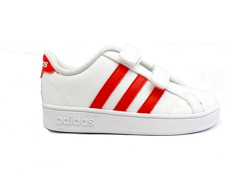 F36238 Adidas Witte adidas Sneakers Roze Strepen Baseline