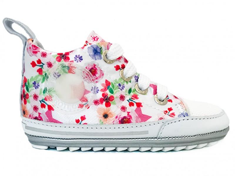 BP9S004-A ShoesMe Witte ShoesMe Veterschoenen Babyproef Flexzool