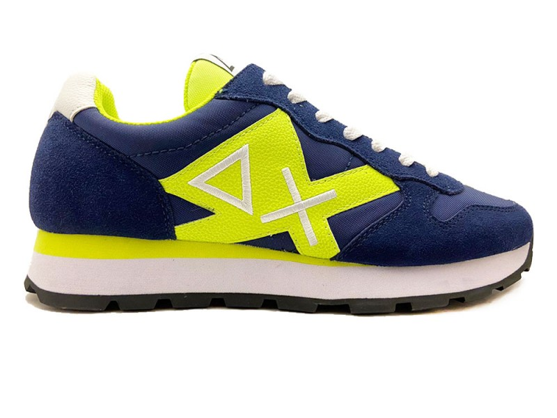 Z30113-07 SUN68 Blauwe SUN68 Sneakers Tom Logo Patch Fluo