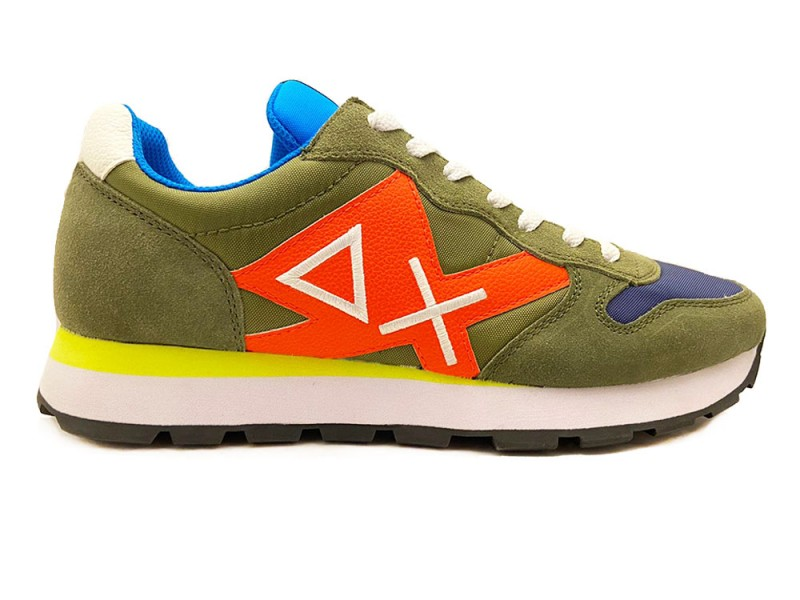 Z30113-19 SUN68 Groene SUN68 Sneakers Tom Logo Patch Fluo