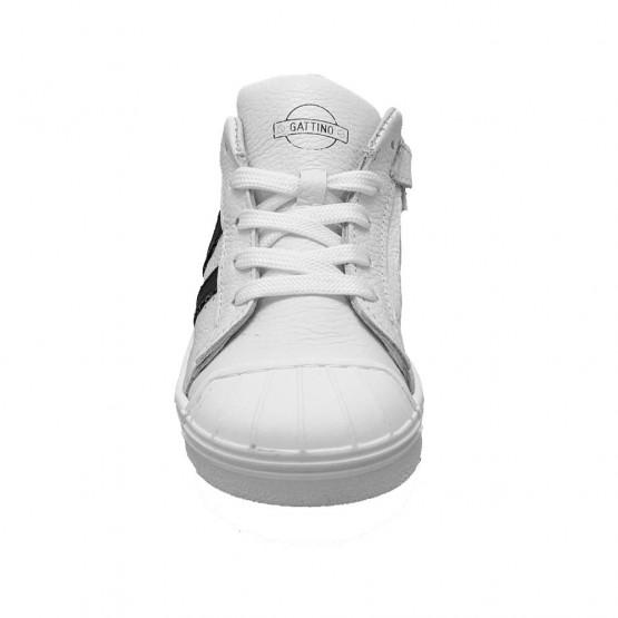 Witte Gattino Sneakers Zwarte Strepen Verest Schoenen